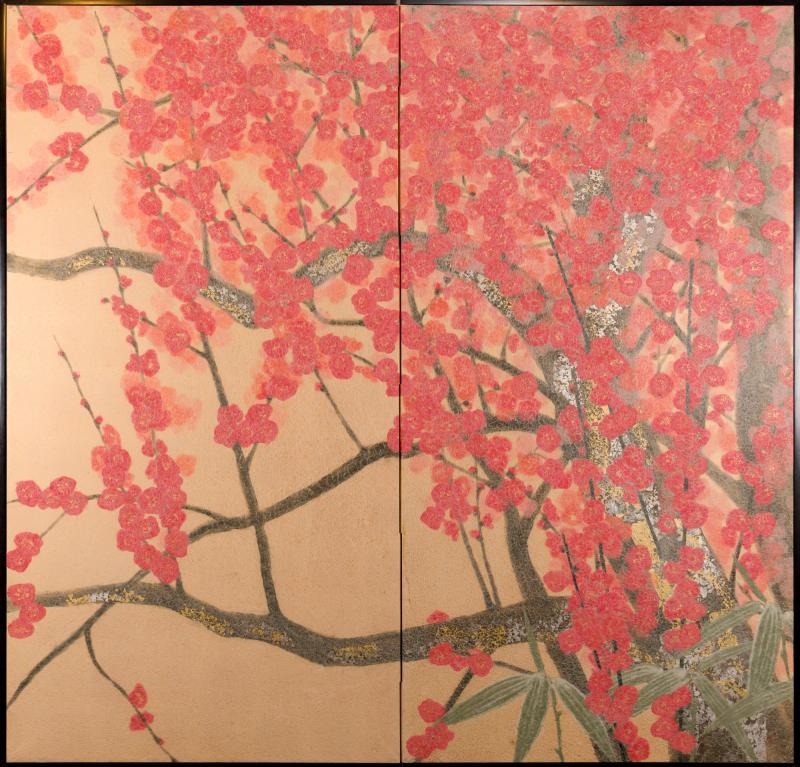 Japanese Two Panel Screen Red Plum Rare Obara Paper Art Screen