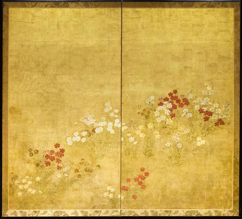 Japanese Two Panel Screen Rimpa Nadeshiko Flowers on Heavy Gold Leaf