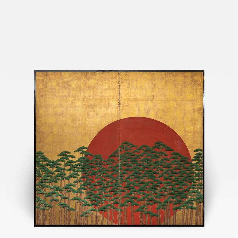 Japanese Two Panel Screen Rising Sun Through the Pine