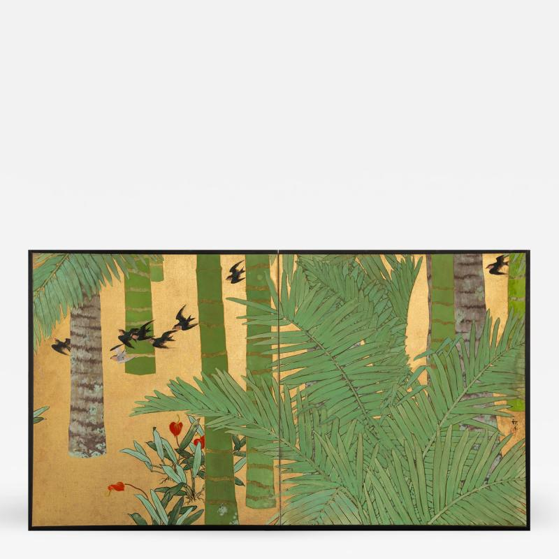 Japanese Two Panel Screen Swallows in Tropical Landscape