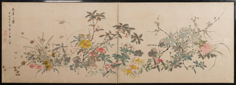 Japanese Two Panel Screen Wild Flowers