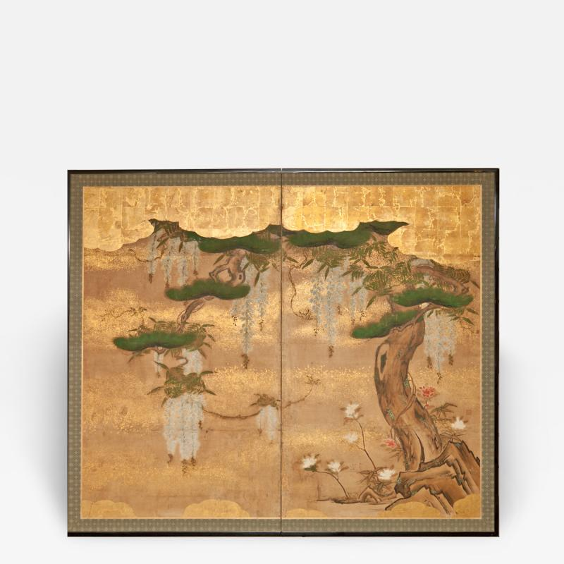Japanese Two Panel Screen Wisteria and Pine
