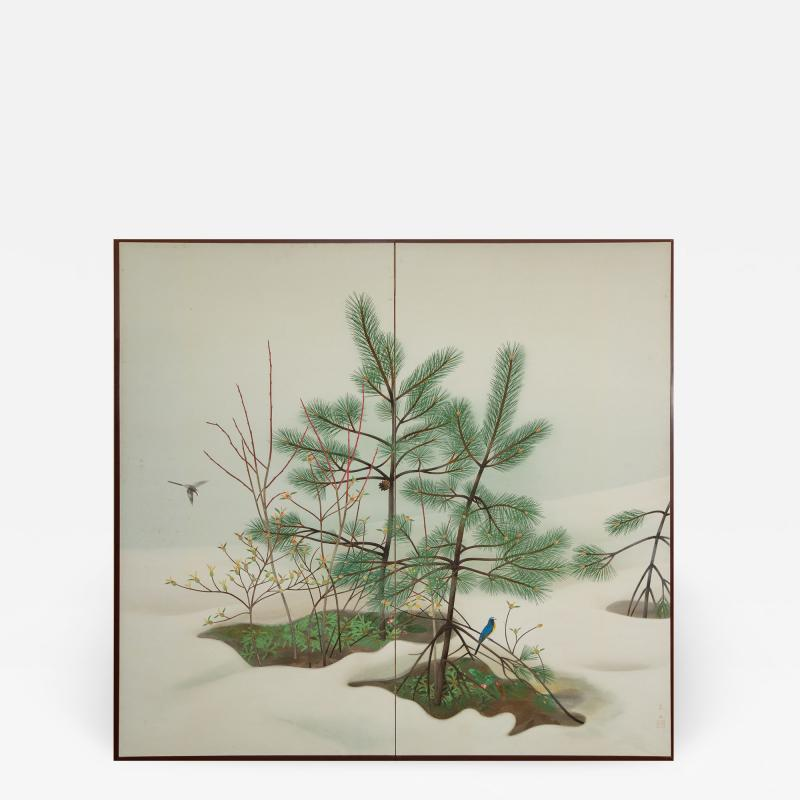 Japanese Two Panel Screen Young Pine in Snow