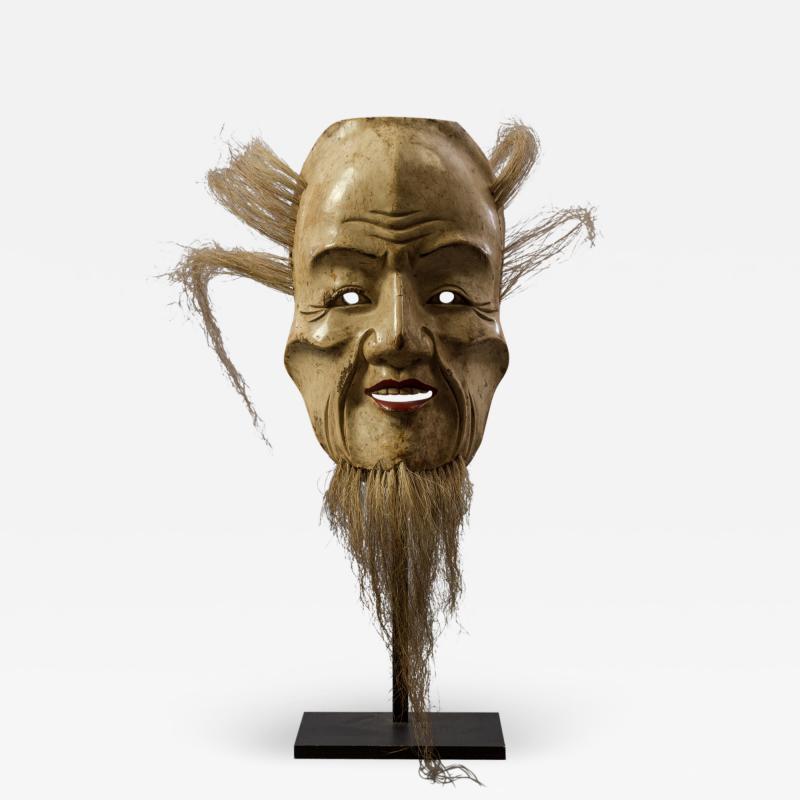Japanese Wood Noh Mask of Jo