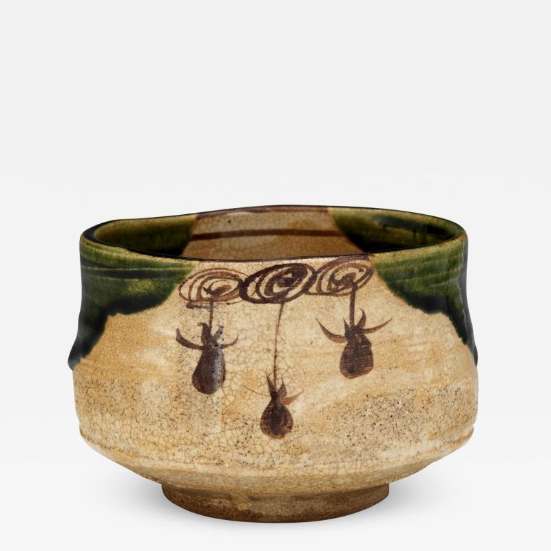 Japanese ceramic Oribe tea bowl chawan