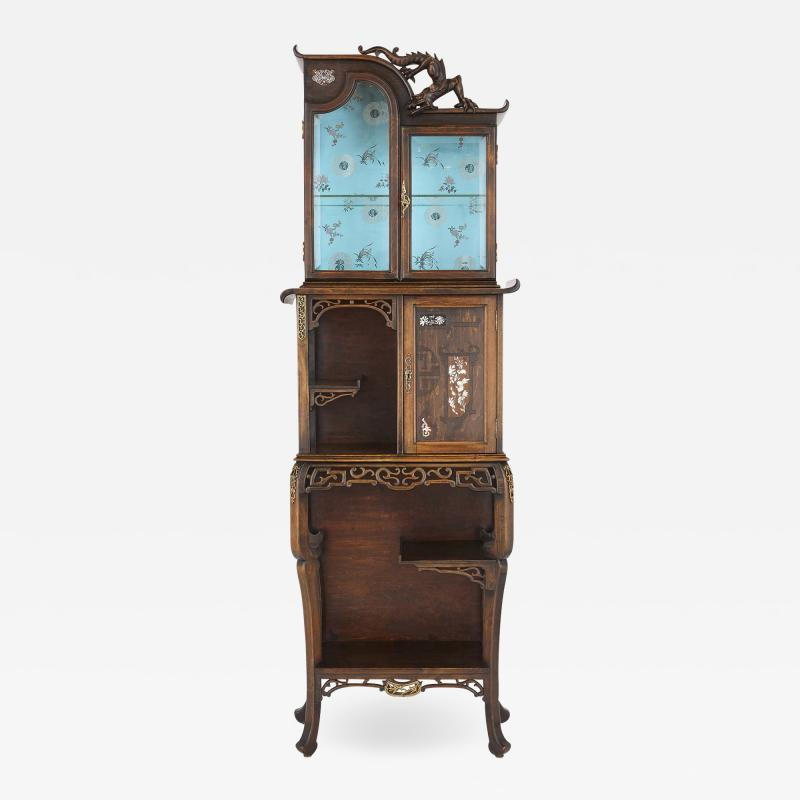 Japonisme mother of pearl inlaid hardwood display cabinet after Viardot