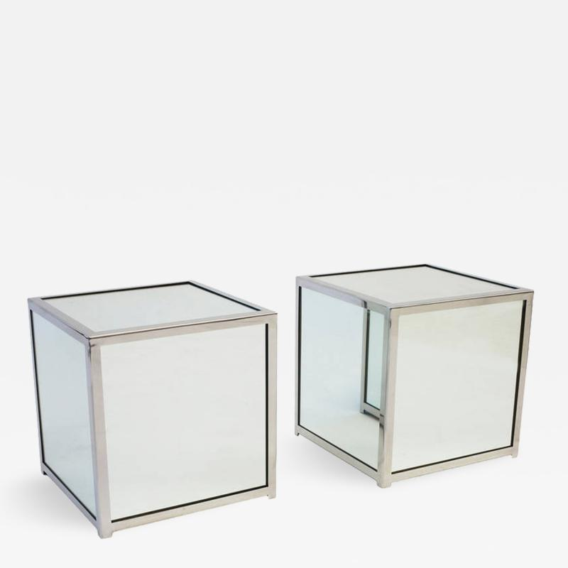 Jay Spectre Mirrored Glass and Chromed Steel Cube Tables Pair