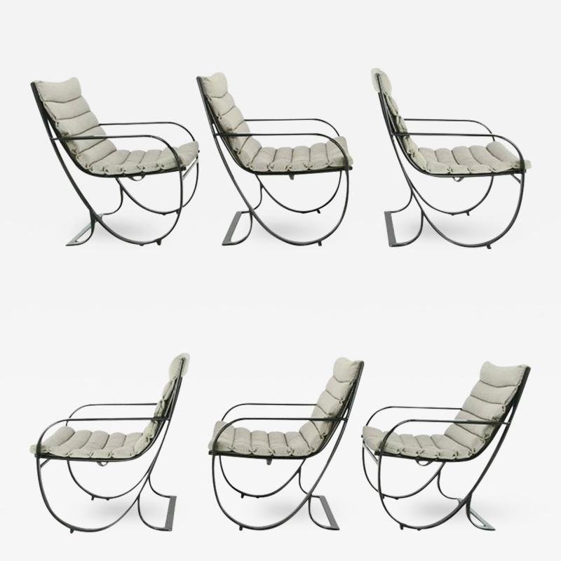 Jay Spectre Set of Six Jay Spectre for Brown Jordan Midnight Blue Metal Dining Chairs