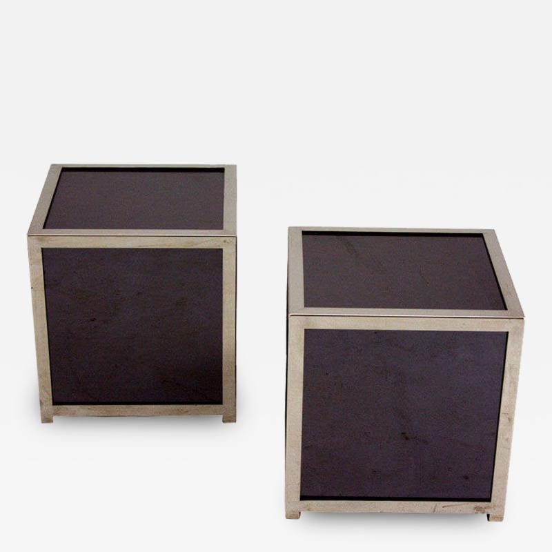 Jay Spectre Smoked Glass Mirror and Chromed Steel Cube Tables Pair