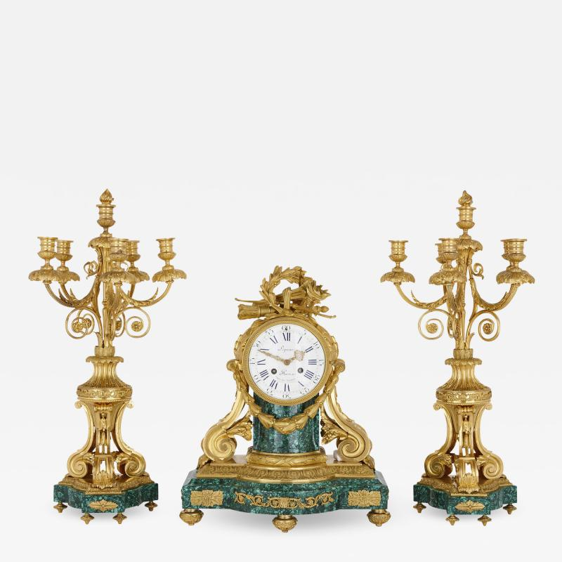 Jean Antoine L pine Antique French gilt bronze mounted malachite clock set