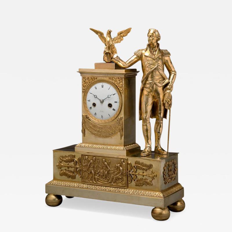 Jean Baptiste Dubuc Important Washington Bronze Mantel Clock