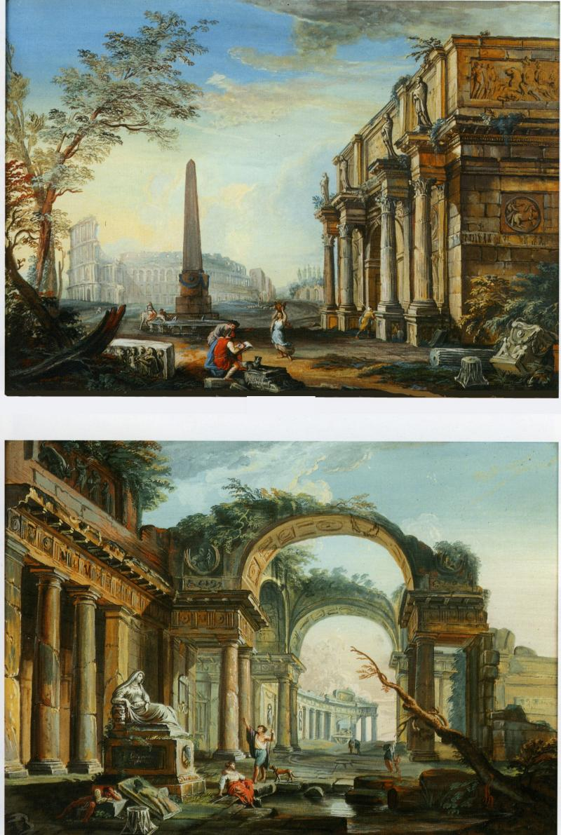 Jean Baptiste Lallemand Pair of Gouaches featuring Architectural Fantasies