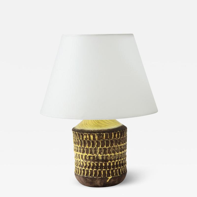 Jean Besnard Jean Besnard Rare Yellow Glaze Ceramic Lamp with Custom Parchment Shade