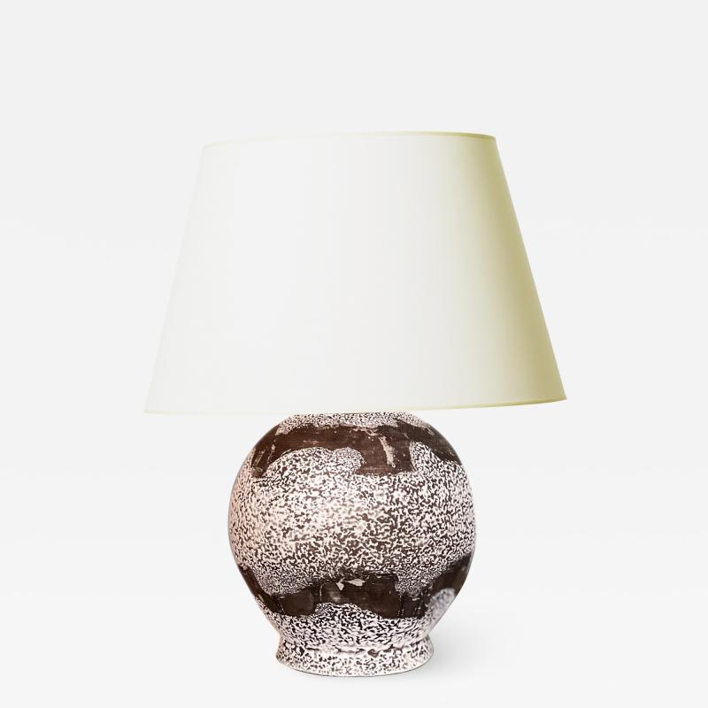 Jean Besnard Table Lamp with Painterly Banding in the Style of Besnard