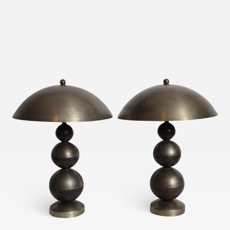 Jean Boris Lacroix Pair of Boris Lacroix Stacked Nickel Plate Brass Table Lamps with Dome Shades
