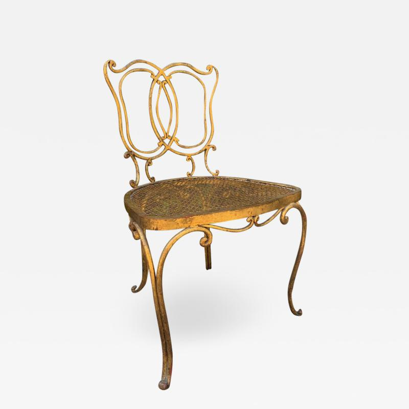 Jean Charles Moreux Jean Charles Moreux Gilt French Vanity Stool Chair