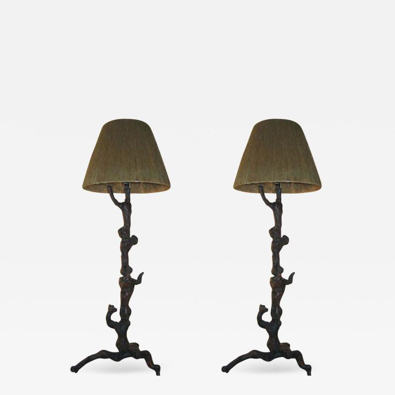 Jean Charles Moreux Pair Rare French Mid Century Primitivist Standing Lamps in Manner of Moreux