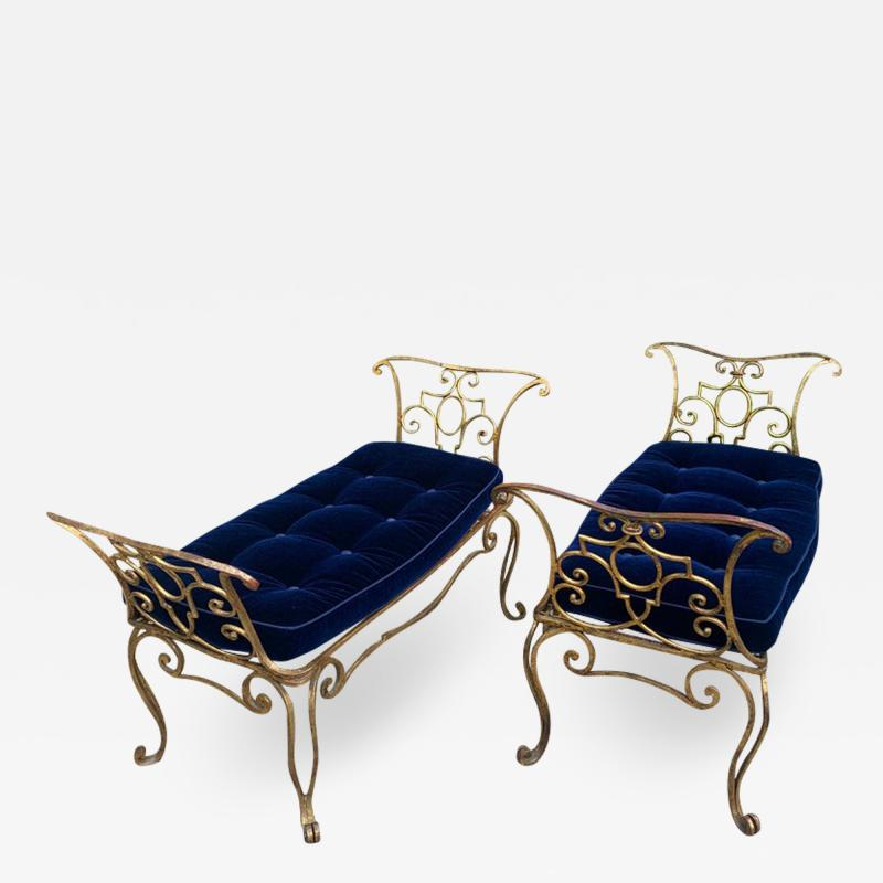 Jean Charles Moreux Pair of Jean Charles Moreux Gilt Wrought Iron Benches