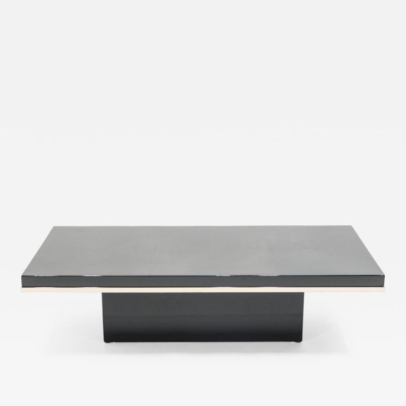 Jean Claude Mahey J C Mahey black lacquer and brass coffee table 1970s