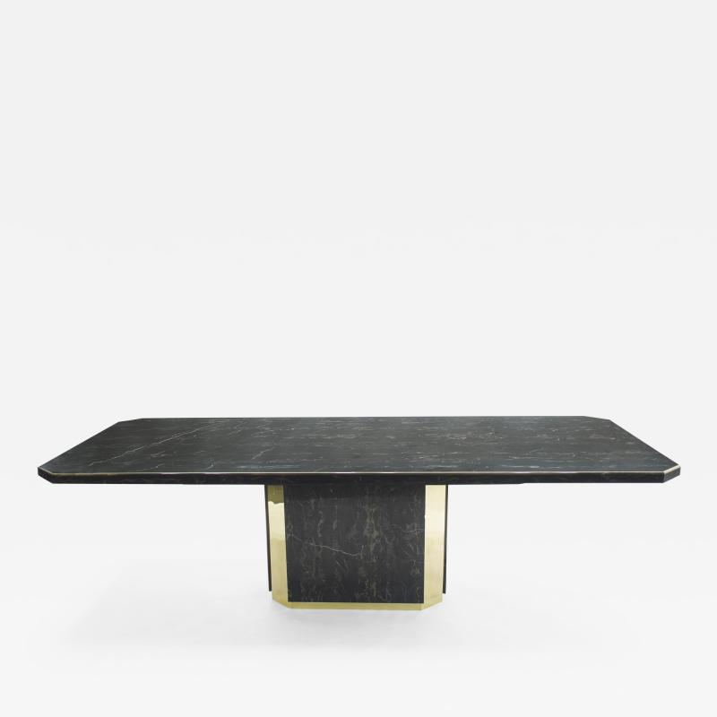 Jean Claude Mahey J C Mahey for Paco Rabanne black Portoro marble dining table brass 1979