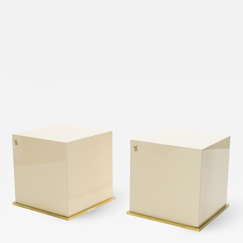 Jean Claude Mahey J C Mahey lacquer and brass cube end tables 1970s