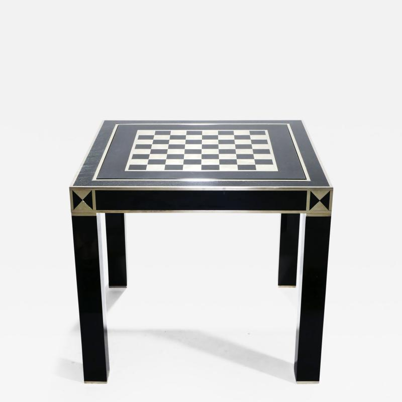 Jean Claude Mahey J C Mahey lacquered and brass game table 1970s