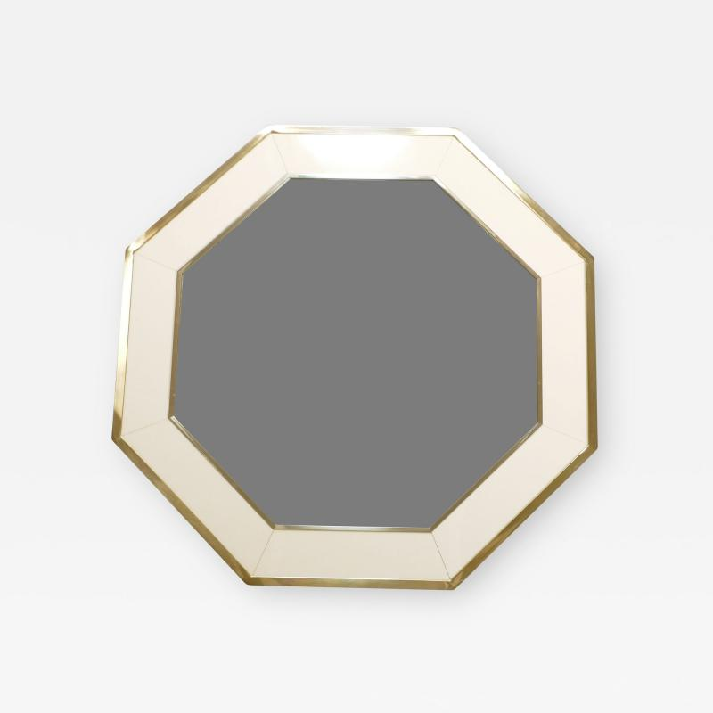 Jean Claude Mahey Octagon Shaped J C Mahey Mirror in white Lacquer and brass 1970