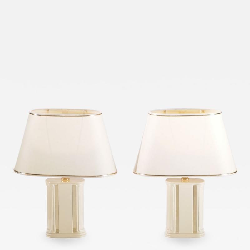 Jean Claude Mahey Pair of French J C Mahey lacquer and brass table lamps 1970 s
