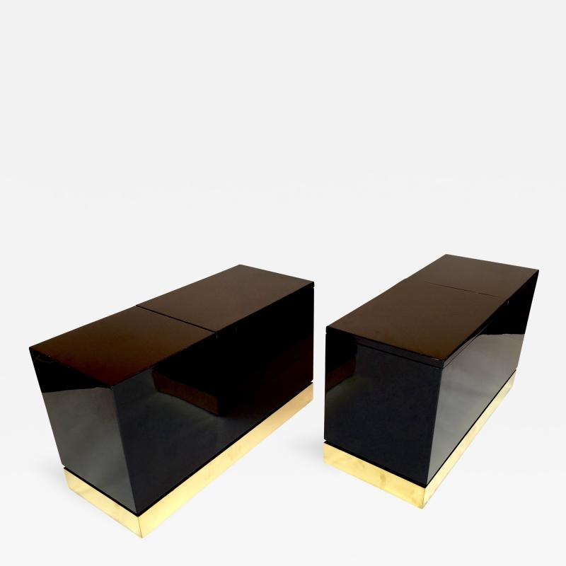Jean Claude Mahey Pair of Lacquered Side Tables Trunk by Jean Claude Mahey 1970s France