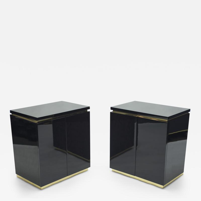 Jean Claude Mahey Pair of small black lacquer cabinets night stands by J C Mahey 1970s