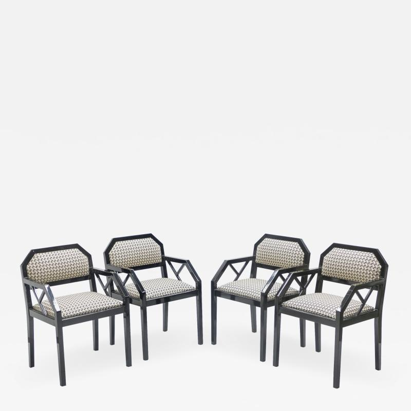 Jean Claude Mahey Rare Set of four Hollywood Regency black lacquer chairs J C Mahey 1970s