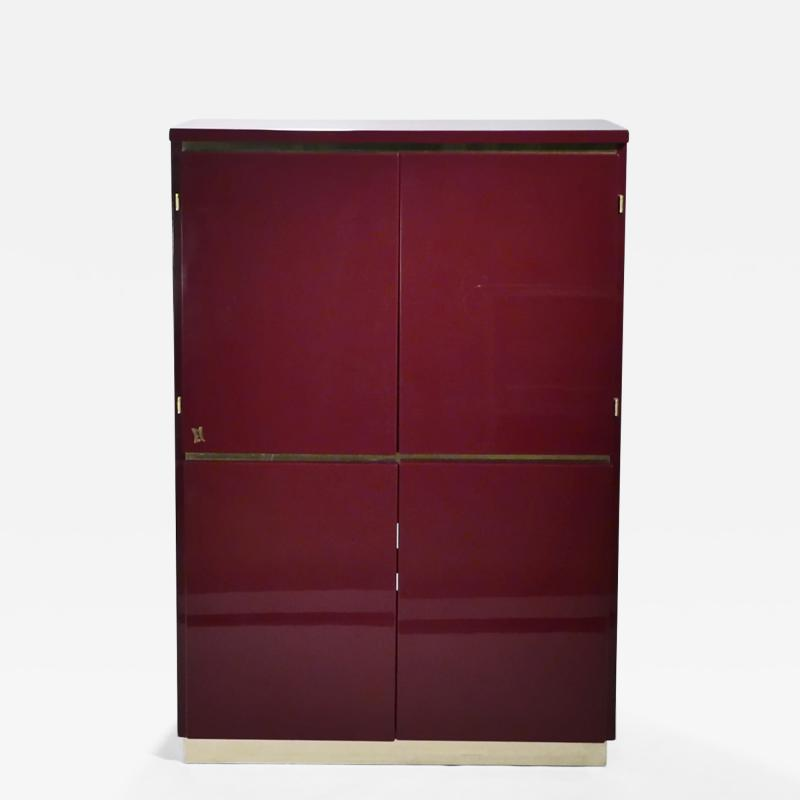 Jean Claude Mahey Red lacquer and brass cabinet by J C Mahey 1970 s