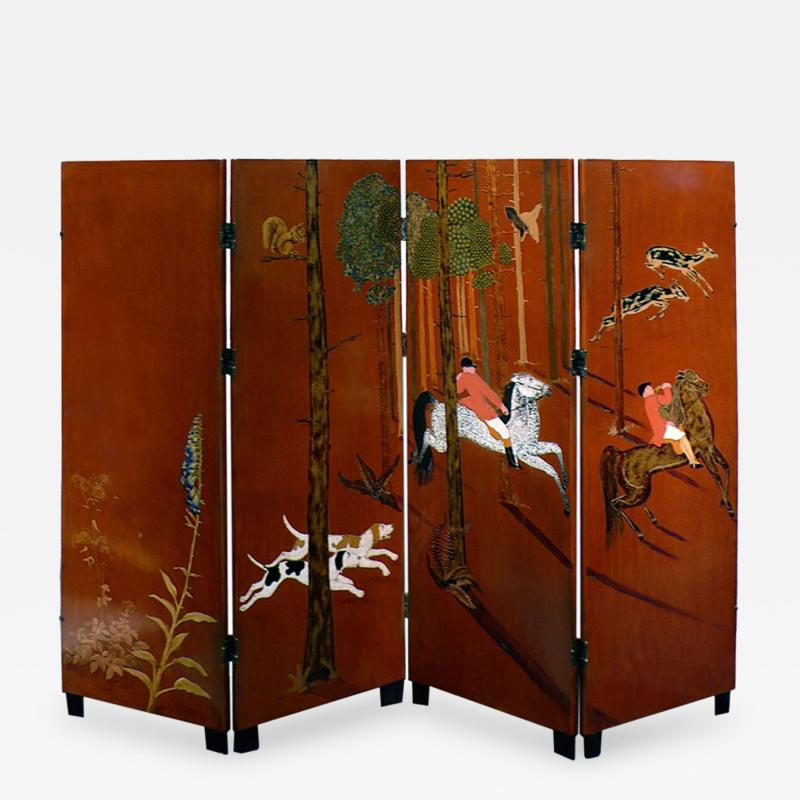 Jean Dunand La Chasse 4 Panel Folding Screen by Jean Dunand