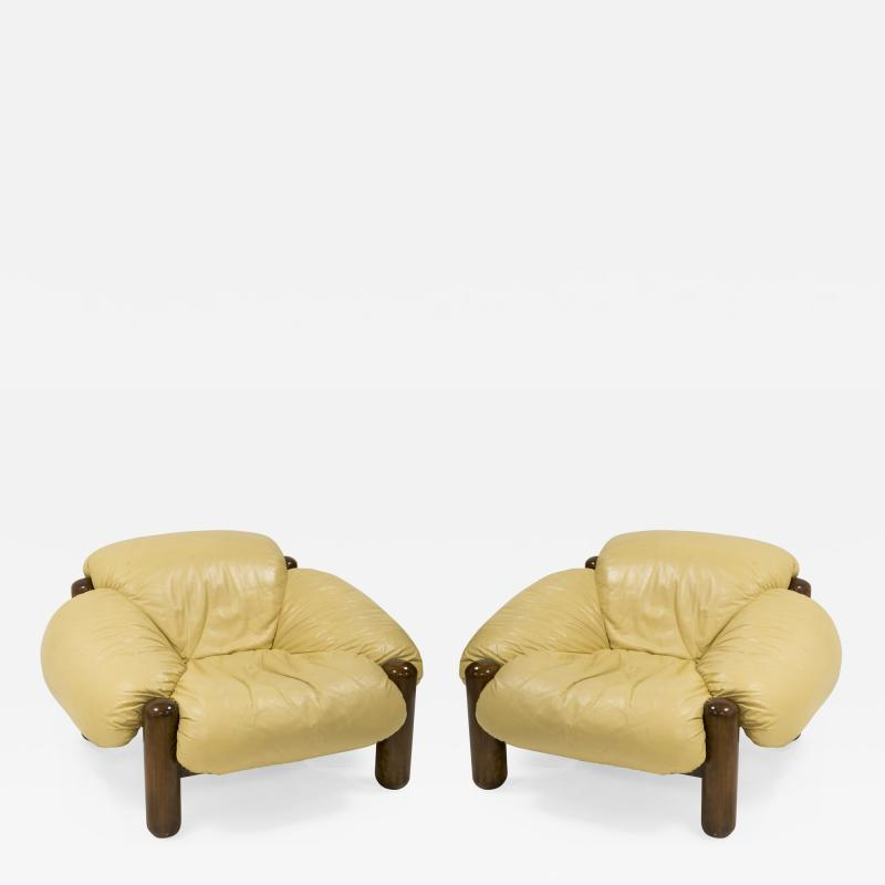 Jean Gillon Pair of armchairs in wood and leather by Jean Gillon circa 1970