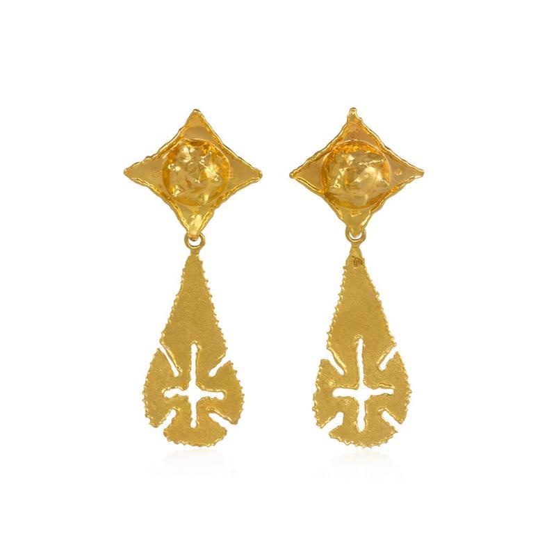 Jean Mahie Jean Mahie 1970s Gold Day to Night Earrings with Teardrop Shaped Pendants