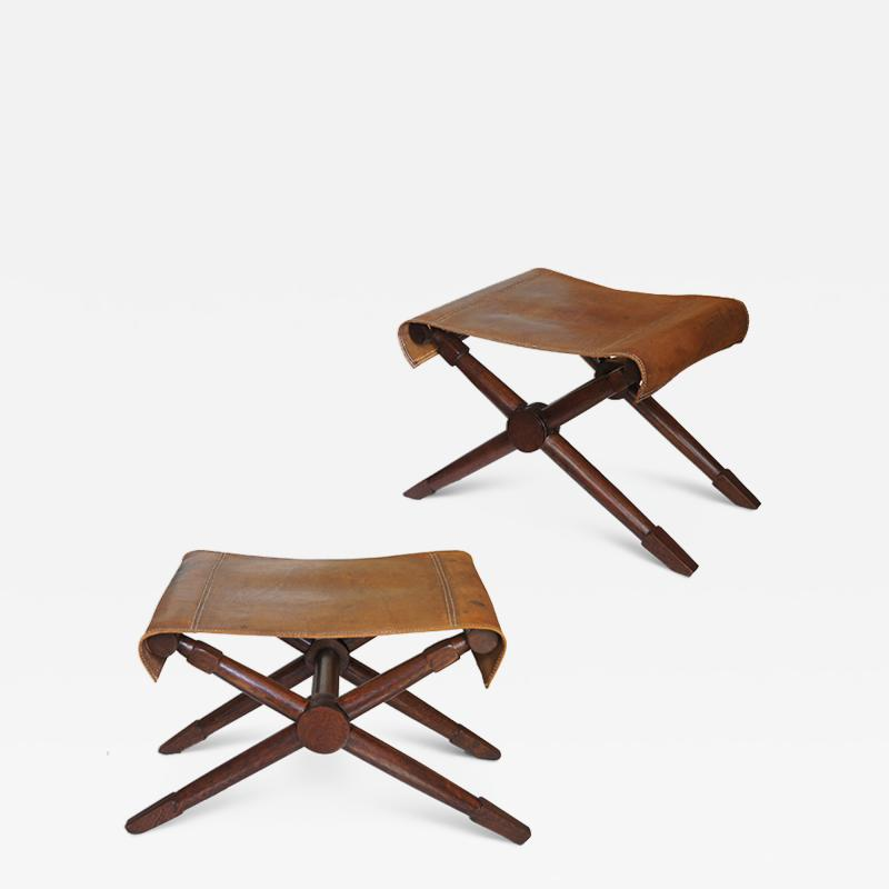 Jean Michel Frank Excellent pair of Folding Benches in Oak and Leather by Jean Michel Frank