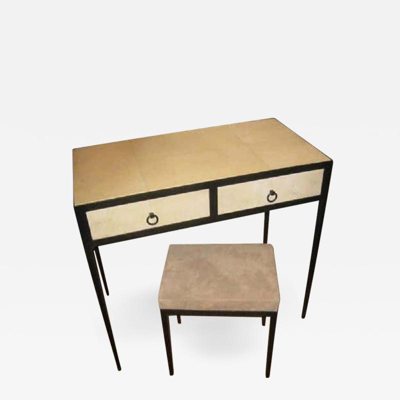 Jean Michel Frank French Mid Century Style Parchment Covered Vanity Desk Jean Michel Frank Style