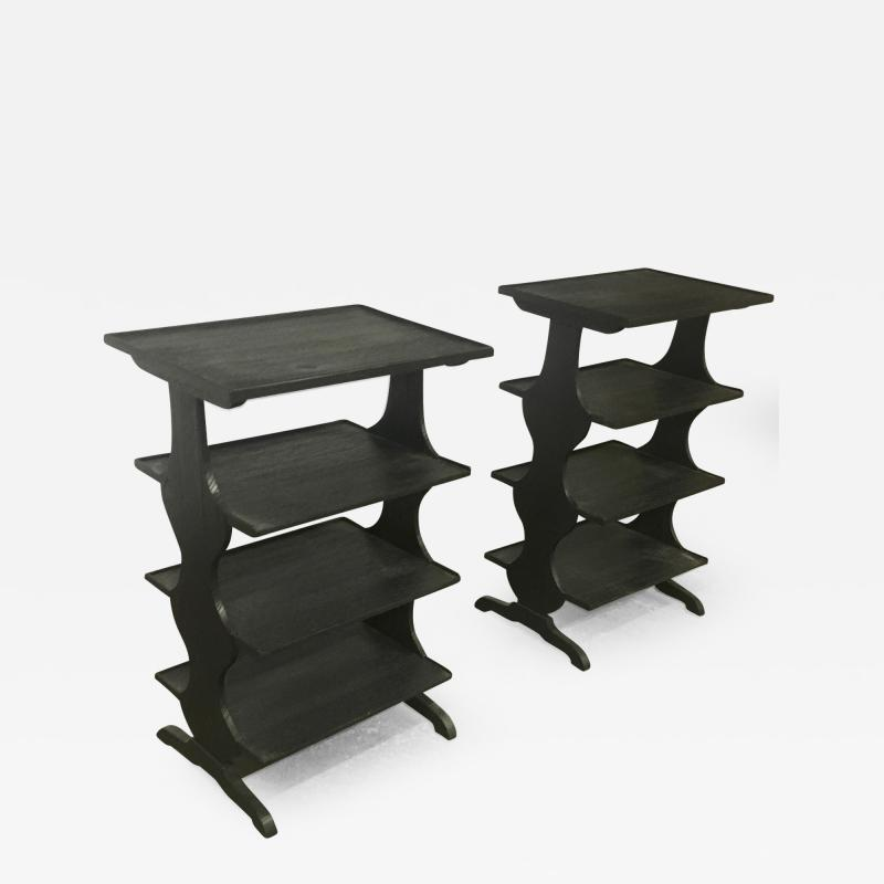 Jean Michel Frank J M Frank attributed Rare pairPof Black 4 Tier Side Tables