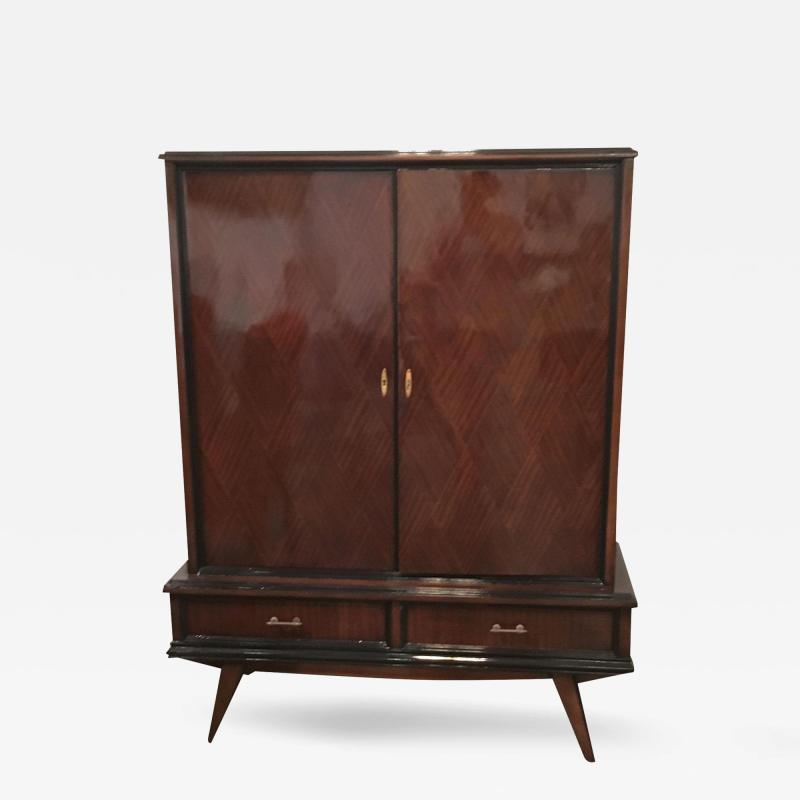 Jean Michel Frank Mid Century Modern Argentine Newly Refinished Lignum Vitae Bar Cabinet