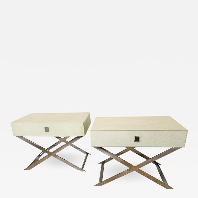 Jean Michel Frank Pair of Faux Shagreen and Polished Chrome Bedside Occassional Tables