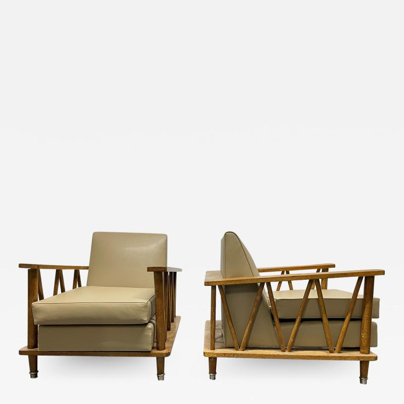 Jean Michel Frank Pair of French Cerused Oak Lounge Chairs in the Style of Jean Michel Frank