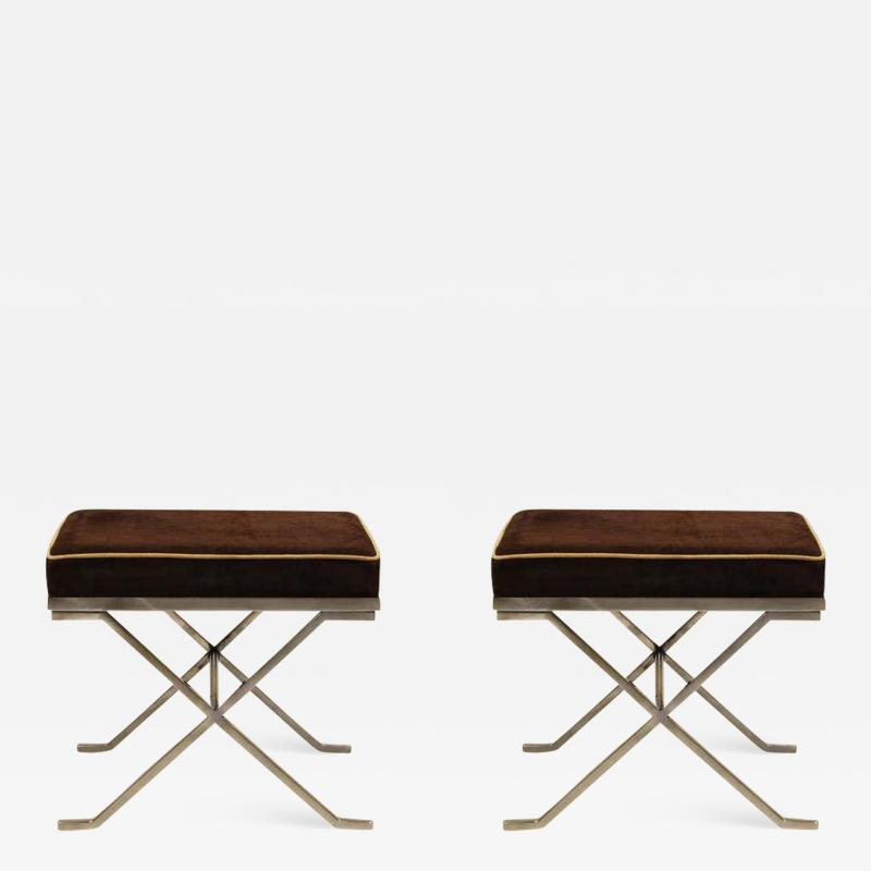 Jean Michel Frank Pair of Modern Neoclassical Benches or Stools in the Manner of Jean Michel Frank