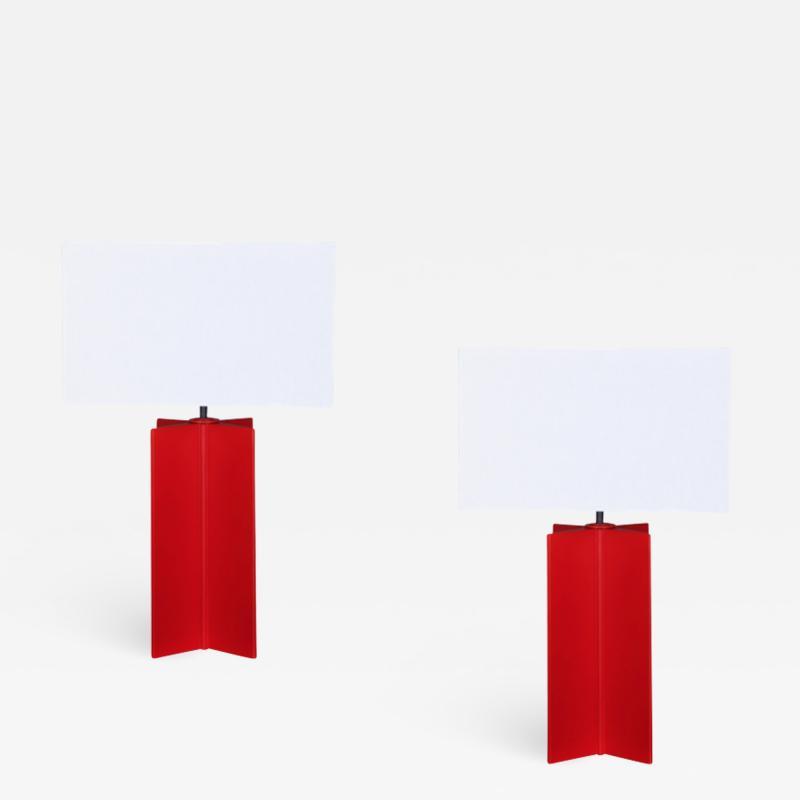 Jean Michel Frank Pair of croisillon table lamps in the manner of Jean Michel Frank