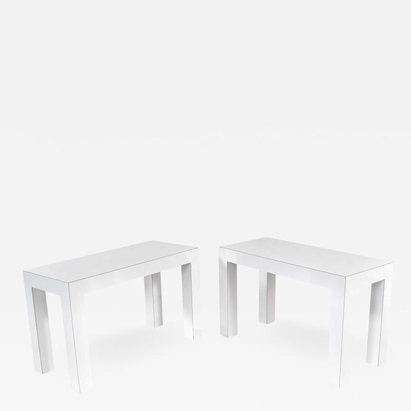 Jean Michel Frank White laminate parsons style side or end tables with glass tops a pair