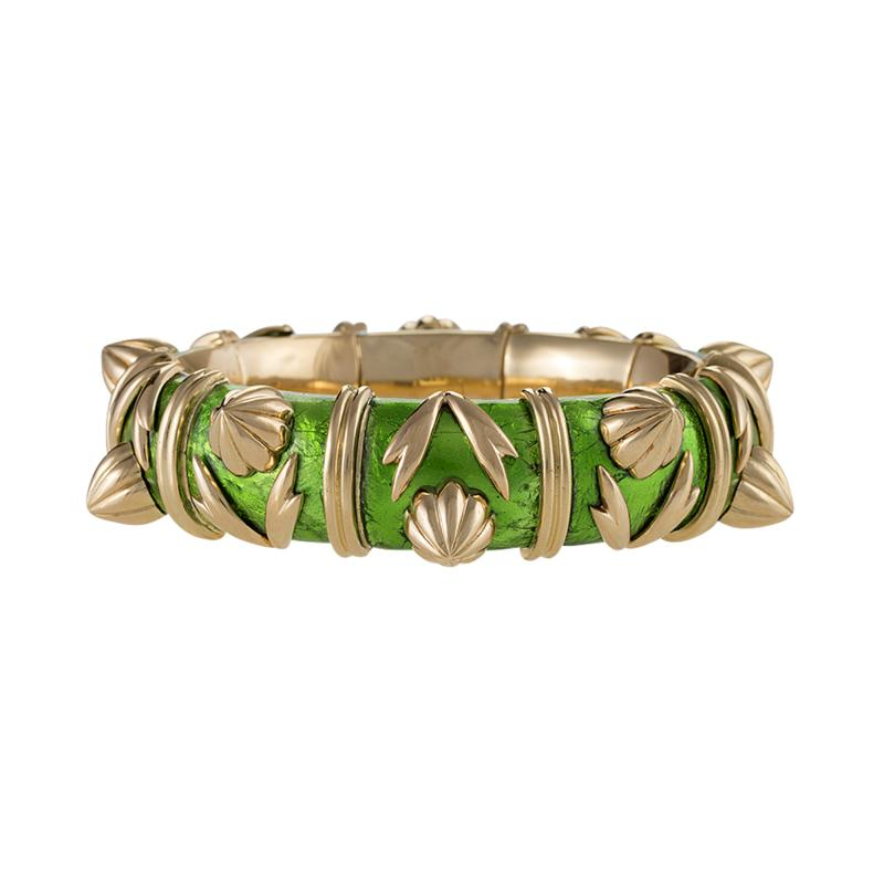 Jean Michel Schlumberger Schlumberger Gold and Paillone Enamel Bangle Bracelet
