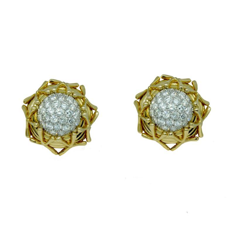 Jean Michel Schlumberger Schlumberger Yellow Gold Diamond Earrings