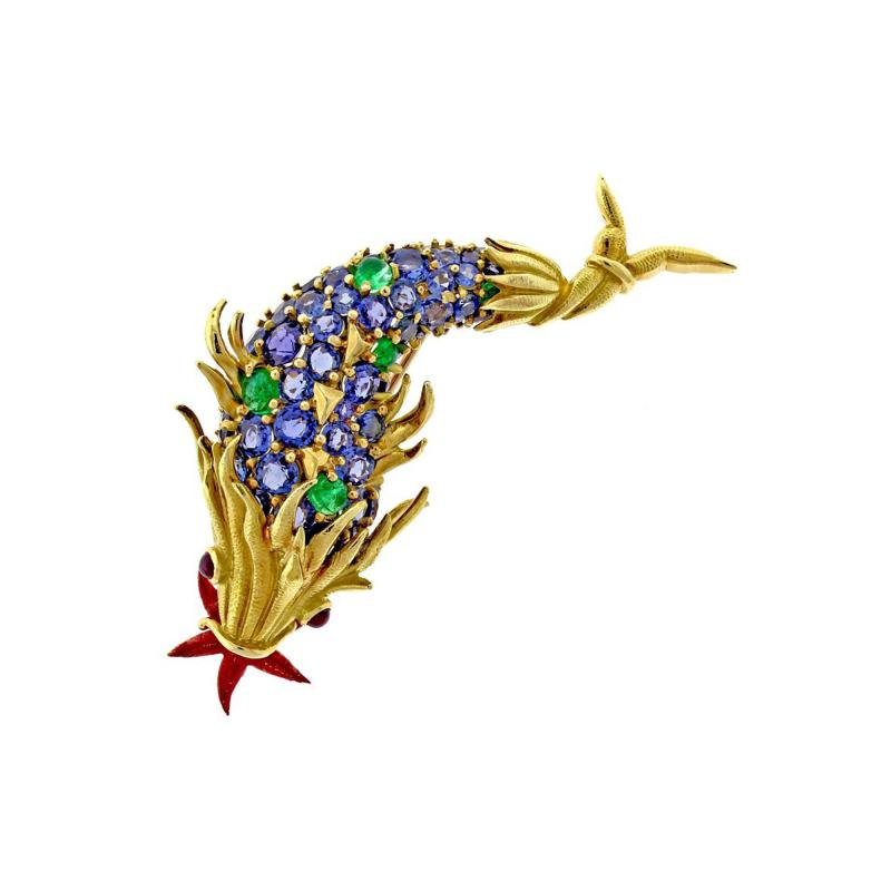 Jean Michel Schlumberger Schlumberger for Tiffany Co Sapphire and Emerald and Emerald Fish Brooch
