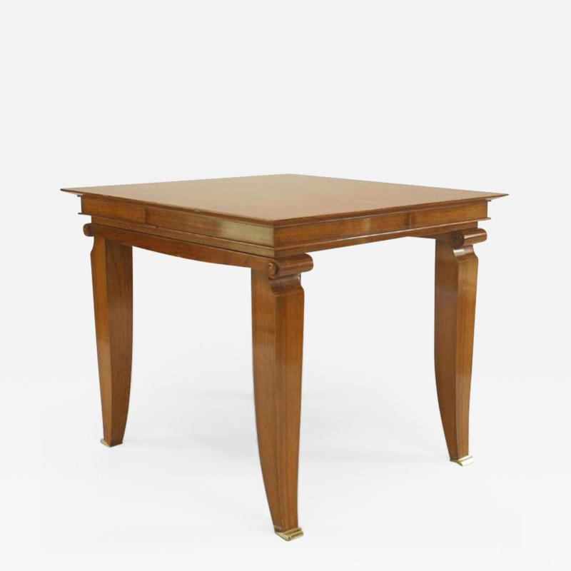 Jean Pascaud French 1940s Square Mahogany Game Table