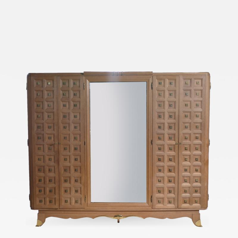 Jean Pascaud French art deco wardrobe in solid oak and brass 1940 s