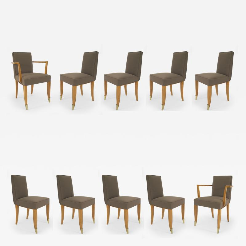 Jean Pascaud Set of 10 French 1940s Mahogany Chairs